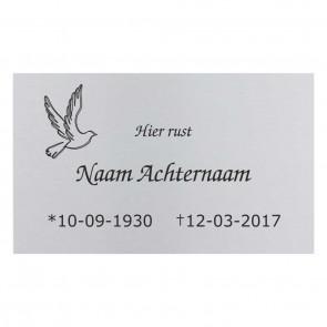 Gedenkbord RVS 30 x 18 cm