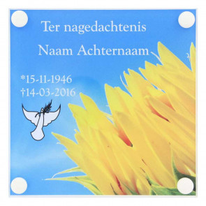 Gedenkplaat plexiglas 145 x 145 mm