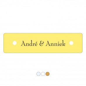 Kunststof naamplaatje 60 x 15 mm geel
